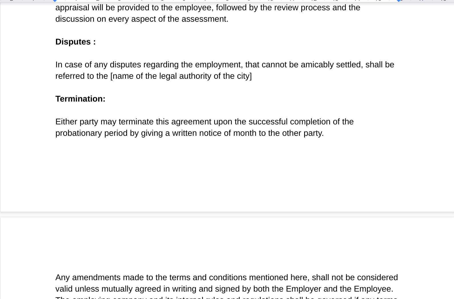 Employee Agreement Bond Google Docs